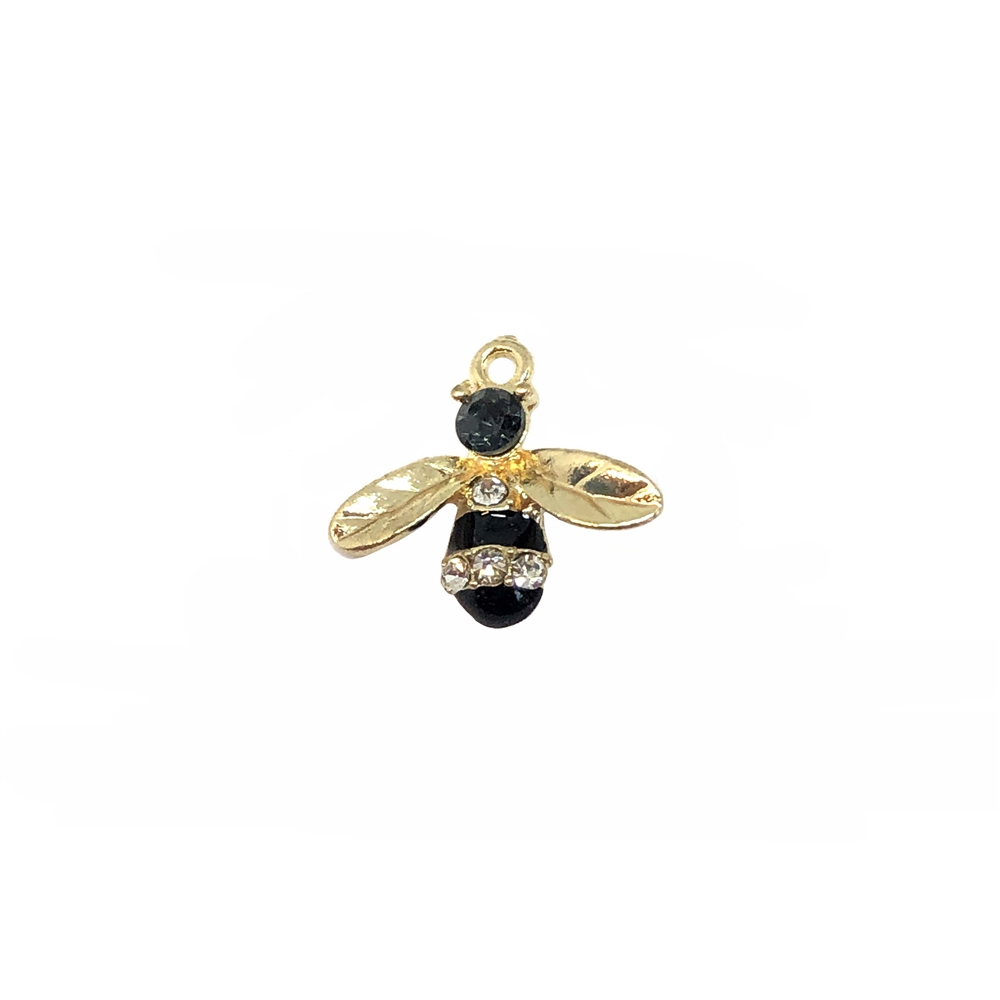 bee charm, gold plated, 17 x 15mm, 08890, insects, charms, bugs, animals, Bsue Boutiques, jewelry supplies, zinc alloy, black enamel, bee, pendant, embellishments