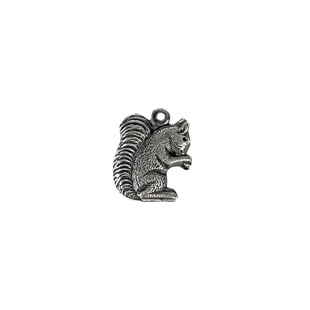 brass squirrel, squirrel charms, silverware, 08988, B'sue Boutiques, vintage jewelry supplies, brass jewelry parts, black antiquing, silver plate, brass charms, charms jewelry