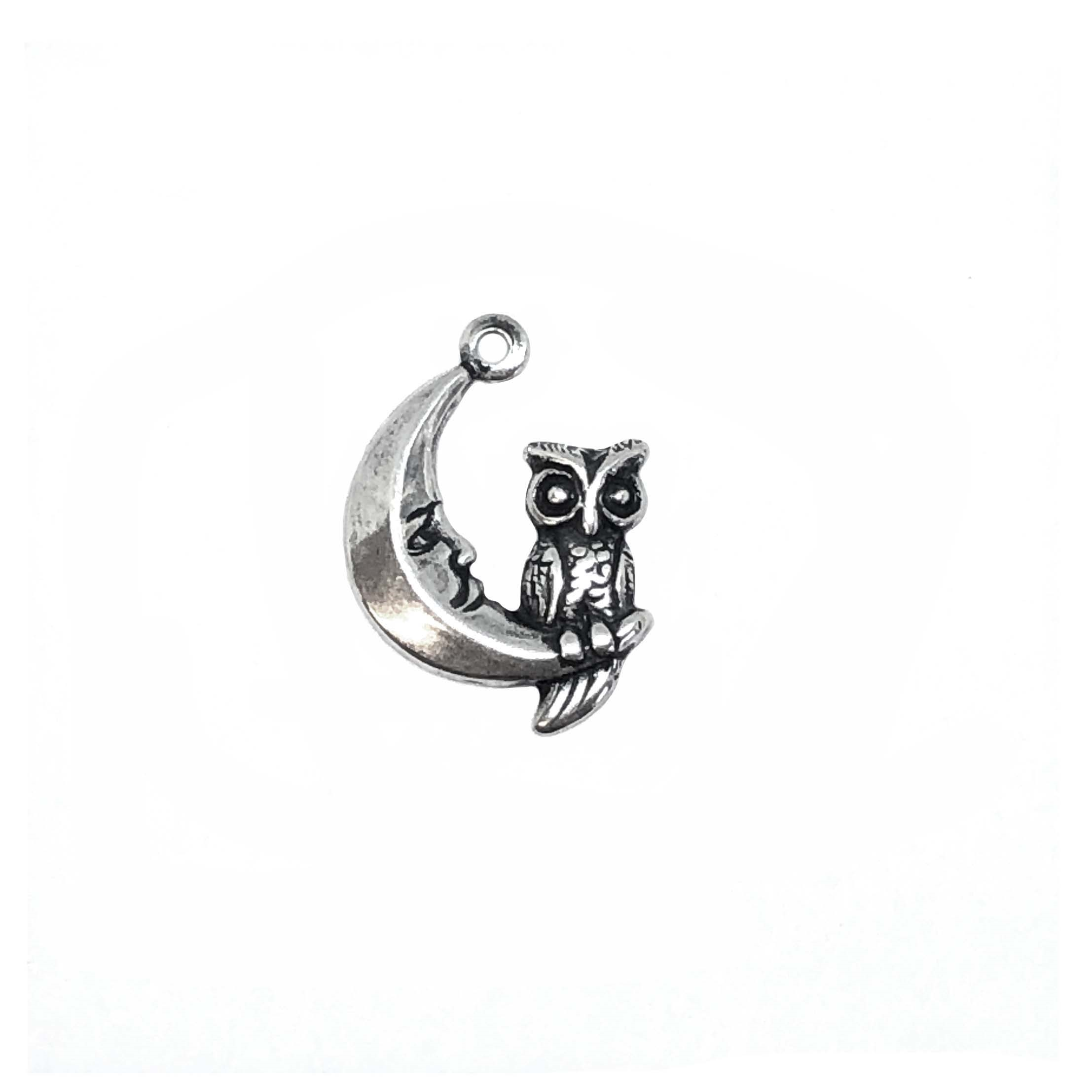 Owl, Moon, Stamping, Silverware Silverplate, Charm, 17 x 14mm