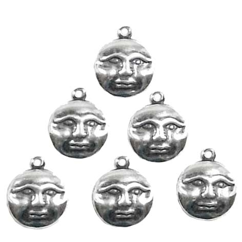 moon charm, 09090, silverware silver plate, antique silver, antique black, moon face, jewelry making supplies, jewelry making supplies, US made, nickel free jewelry supplies, face charms