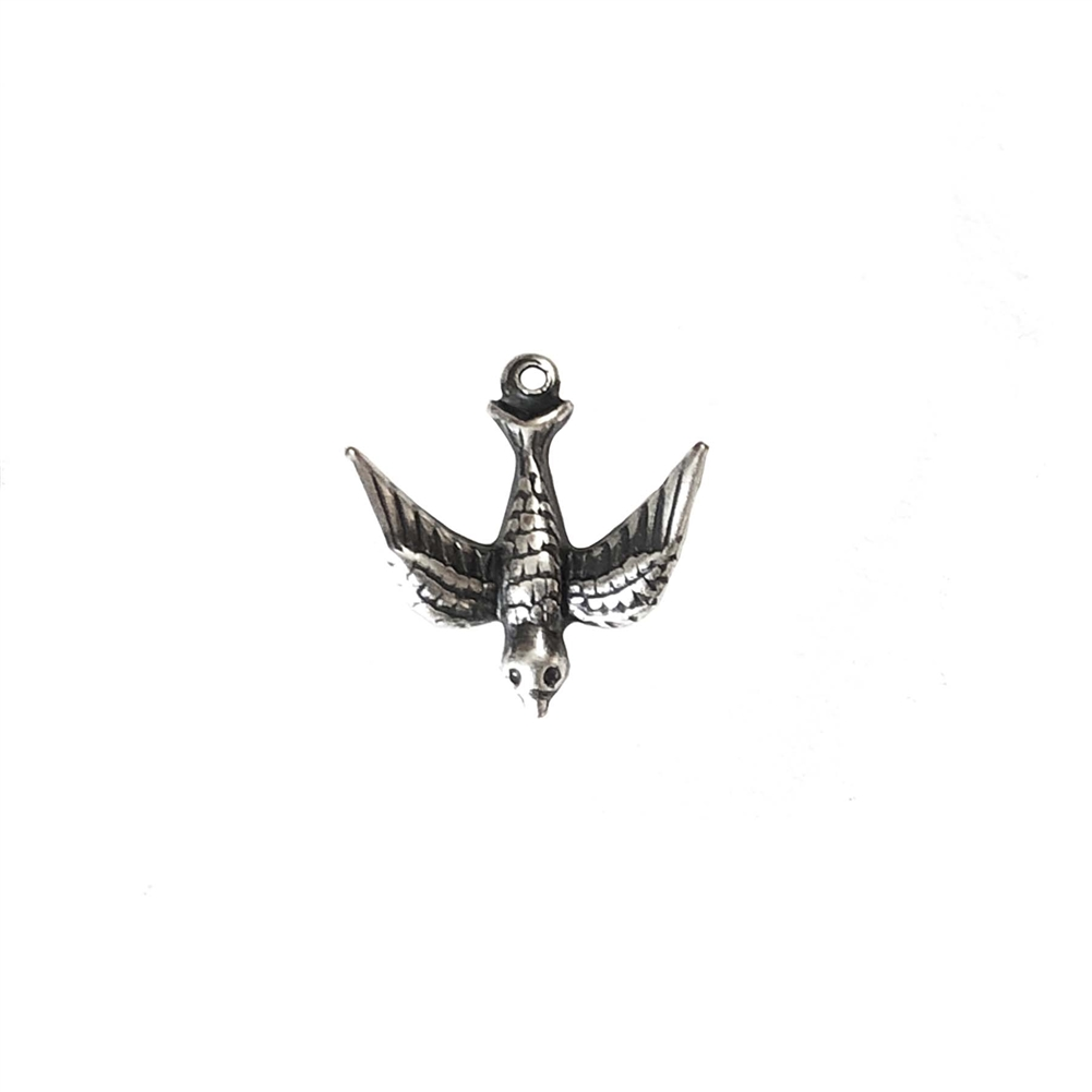 flying bird, bird stamping, silverware silver plate, brass bird, bird, brass stamping, hanging hole, flying, charm, pendant, bird jewelry, us made, nickel-free, brass, b'sue boutiques, jewelry making, vintage supplies, jewelry findings, 17x17mm, 0915