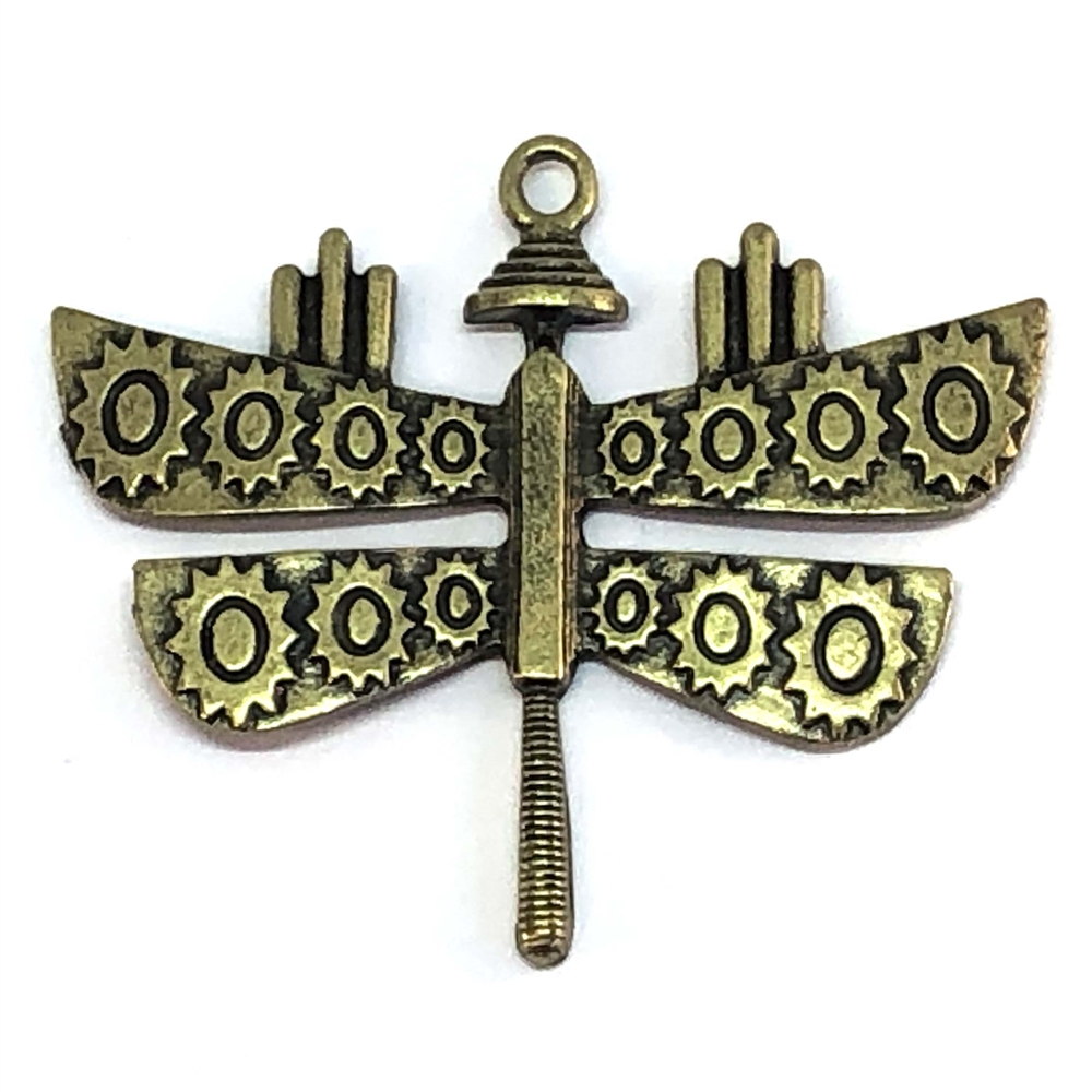 Brass Stamping, Dragonfly, Winged Dragonfly,  Steampunk Dragonfly, Gear Design, Jewelry Findings, Pendant, B'sue Boutiques, Winged, 09165, Vintage Supplies, Jewelry Supplies, Parts, Jewelry