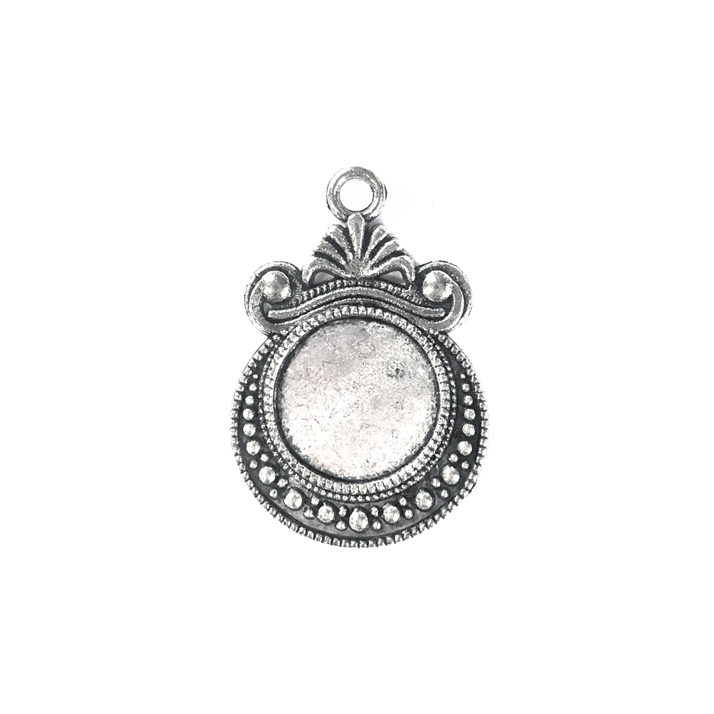 Round Pendant Mount, charm, 12mm, 09168, cameo mount, stone mount, antique silver, mount, vintage, vintage supplies, B'sue Boutiques, 12mm mount, silver mount, jewelry parts, jewelry supplies