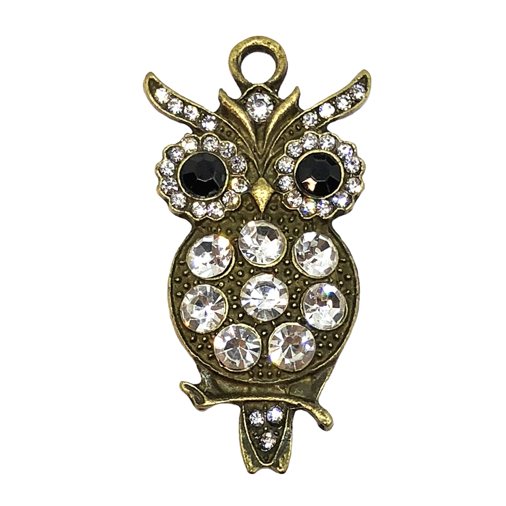 Owl Pendant, Imitation Crystal Rhinestones, 09186, antique bronze, rhinestone accents, jewelry making, vintage jewelry, bird jewelry, owl on a branch, vintage owls, owl charms,