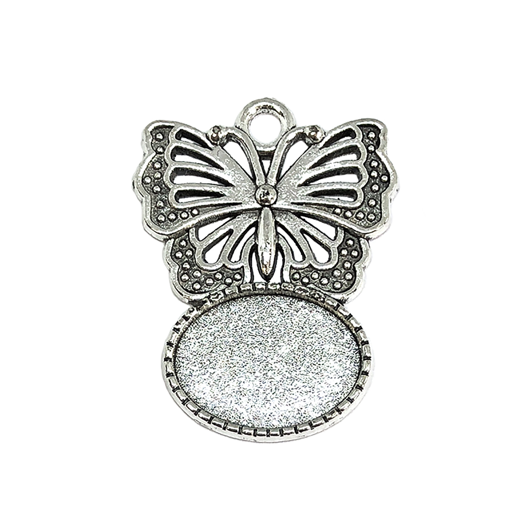 butterfly pendant mount, butterfly charm, cast zinc, antique silver finish, vintage supplies, 18x13mm mount, pendant mount, jewelry findings, jewelry making, vintage supplies, jewelry supplies, charms, B'sue Boutiques, butterfly pendant, pendant, 09205