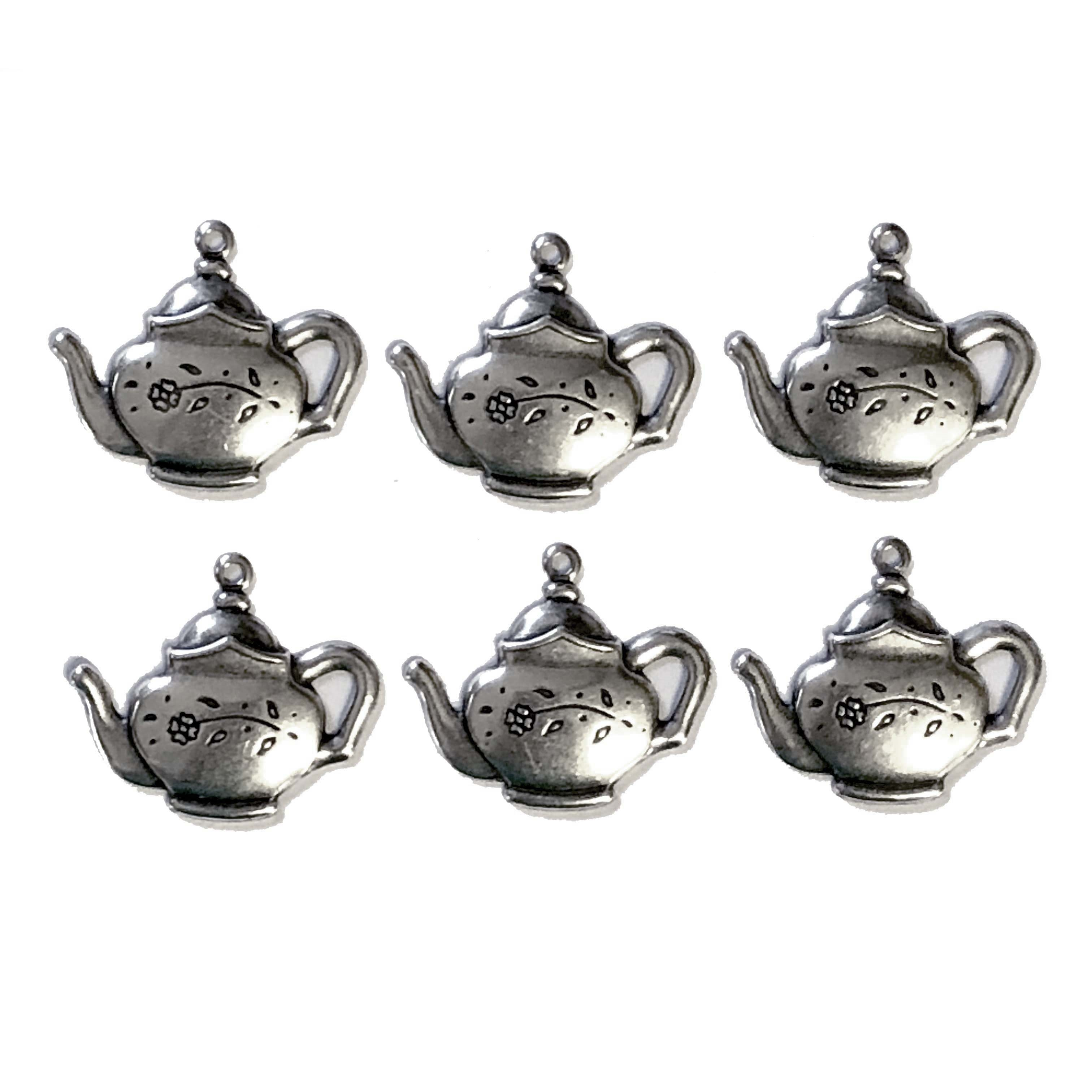 teapot, silverware silverplate, 09258, tea, tea pot, silver charm, teapot charm, charm, kitchen, Bsue Boutiques, jewelry supplies, jewelry making