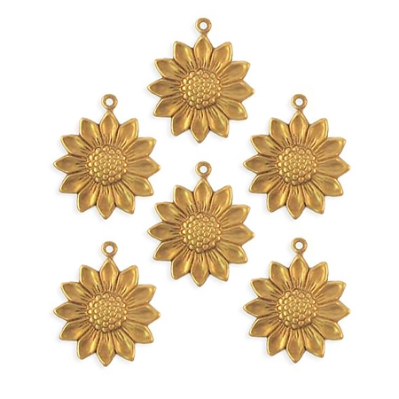 brass sunflower charm, flower drop, raw, 09267 sunflower stamping, charms, sunflower, 18mm, brass flowers, pieced, stamping, brass, flower charm, flower, US made, nickel free, B'sue Boutiques, jewelry supplies,