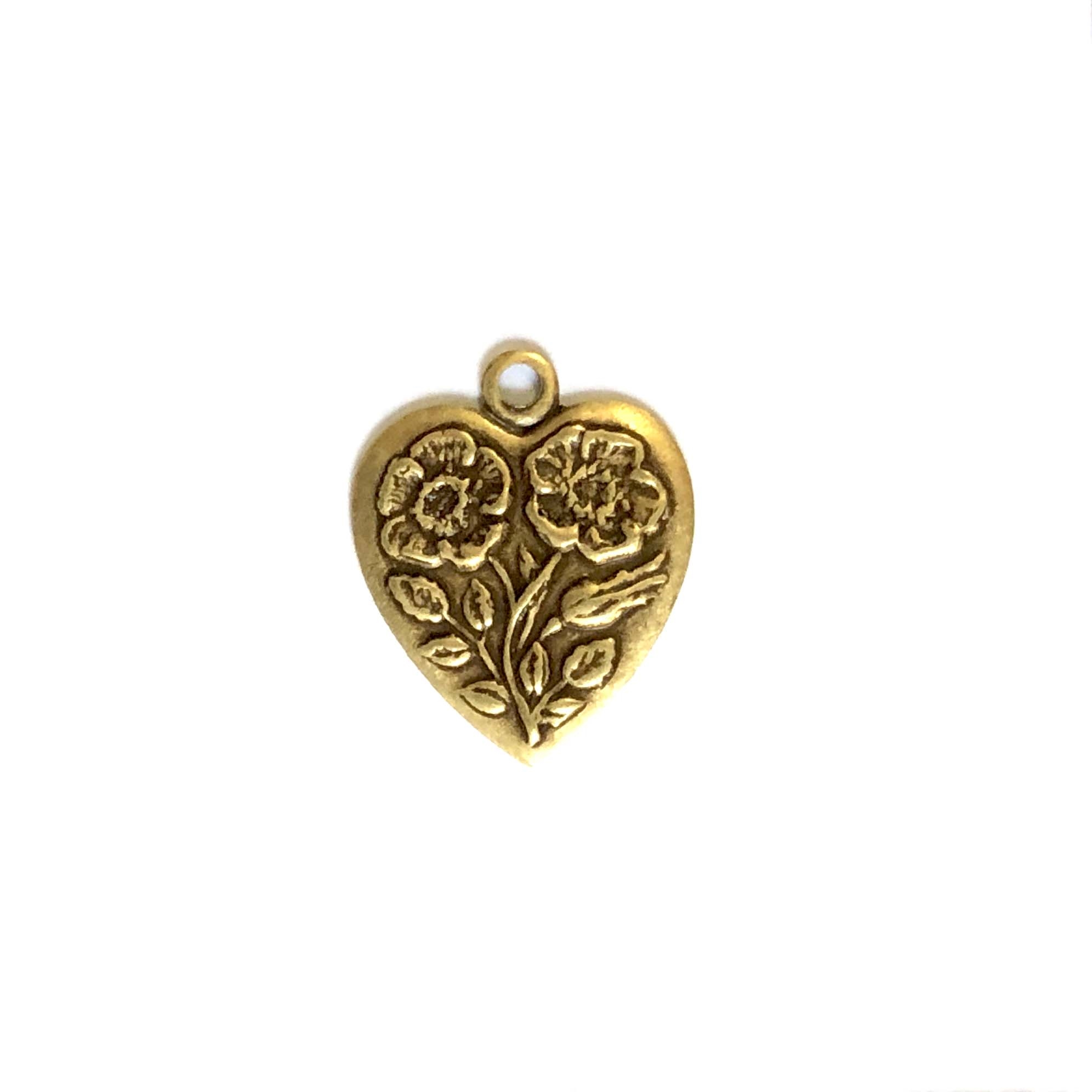 brass charms, heart charms, brass ox, antique brass, 07114, floral heart charms, vintage jewelry supplies, brass jewelry parts, jewelry findings, US made, nickel free, floral charms, bsueboutiques