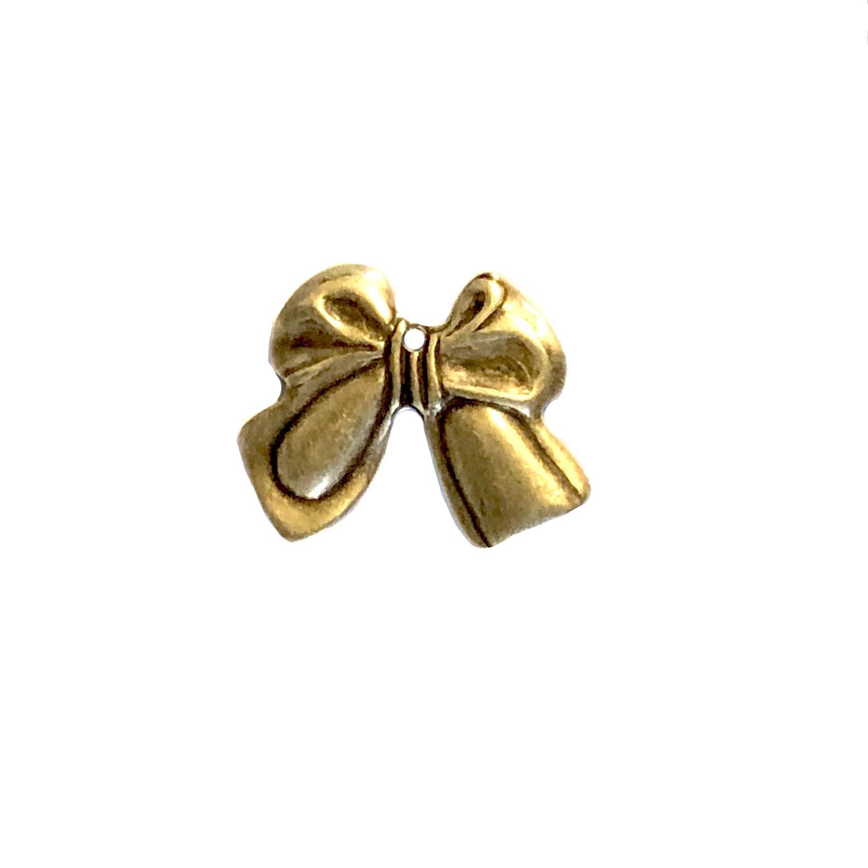 brass bow stamping, brass ox, antique brass, brass bow, bow charm, bow stampings, bow pendants, brass stamping, us made, nickel free, 16x20mm, ribbon bow, brass, stamping, jewelry making, jewelry supplies, vintage supplies, jewelry findings, 09399