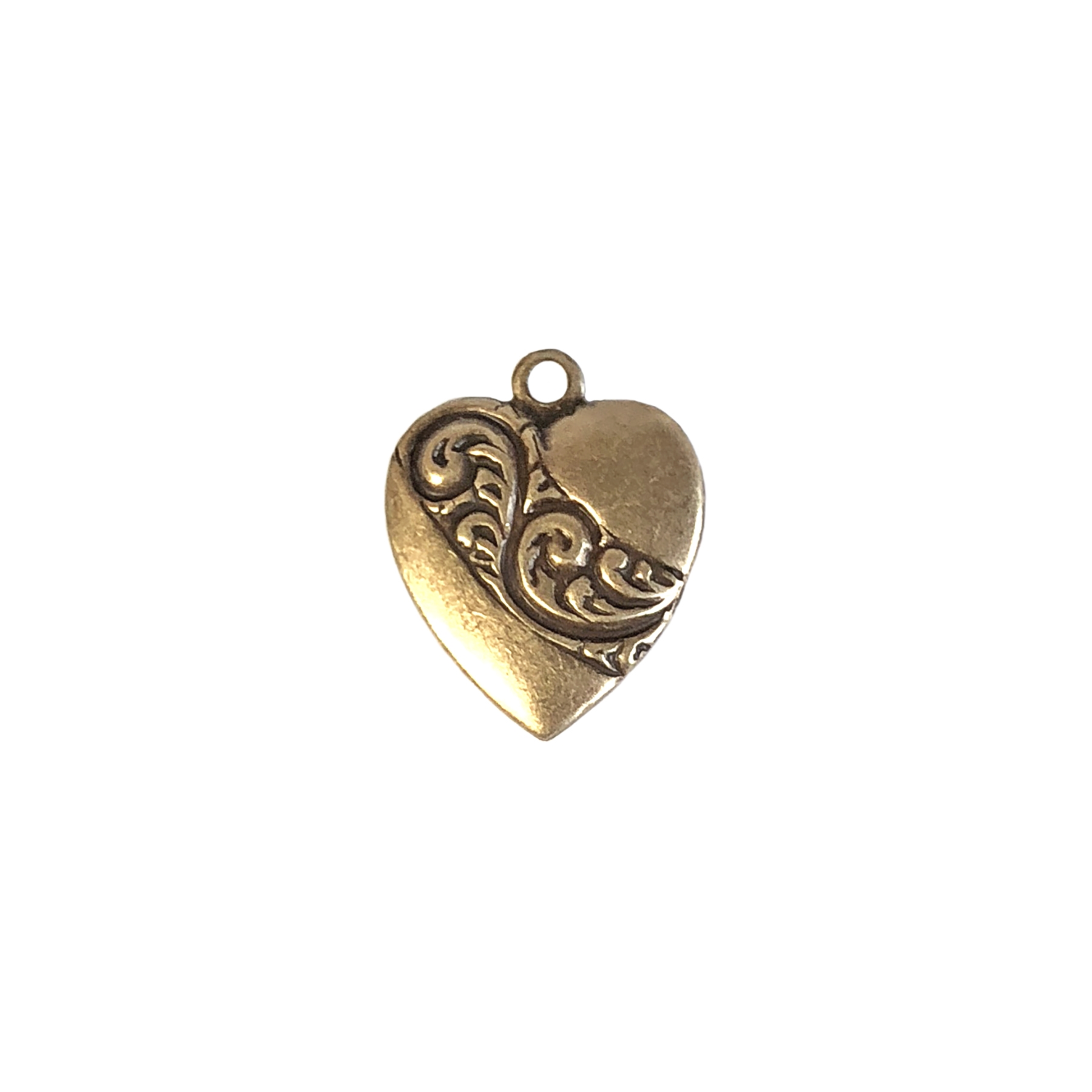 heart leaf swirl banner charm, brass ox, leaf swirl banner, antique brass, charm, heart, heart charm, US made, nickel free, 16x15mm, leaf swirl heart, heart banner, brass charm, brass stamping, jewelry making, jewelry supplies, vintage supplies, 09411