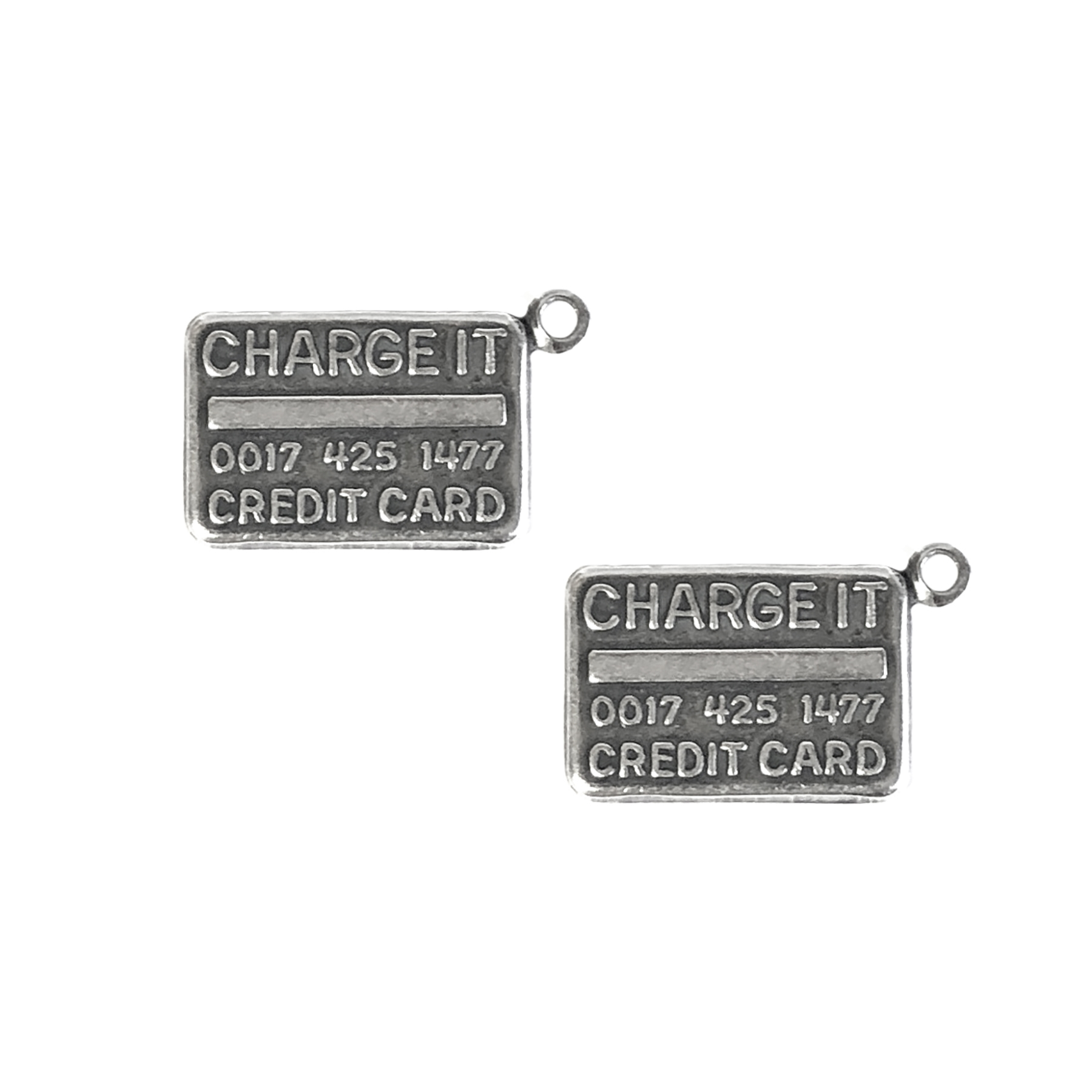 credit card charms, silverware silverplate, antique silver, charms, credit cards, 11x20mm, brass stamping, US-made, nickel-free, charge it, credit card stamping, credit card jewelry, jewelry making, jewelry supplies, vintage supplies, silver charm, 09412
