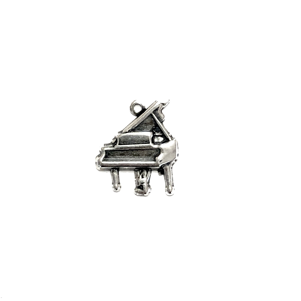grand piano, charm, silverware silverplate, 09420, 16 x 14mm, silver charm, musical instrument, music, piano, B'sue Boutiques, jewelry supplies