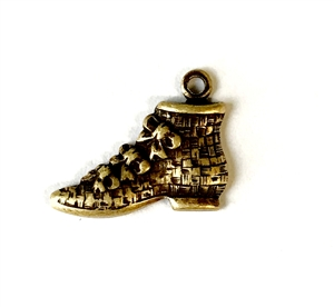 vintage shoe. victorian slipper charm, charm, brass ox, antique brass, shoe, slipper, vintage, victorian, floral accents, 12x14mm bail, 9 x14mm, shoe charm, nickel free, us made, B'sue Boutiques, jewelry supplies, vintage supplies, jewelry making, 09453