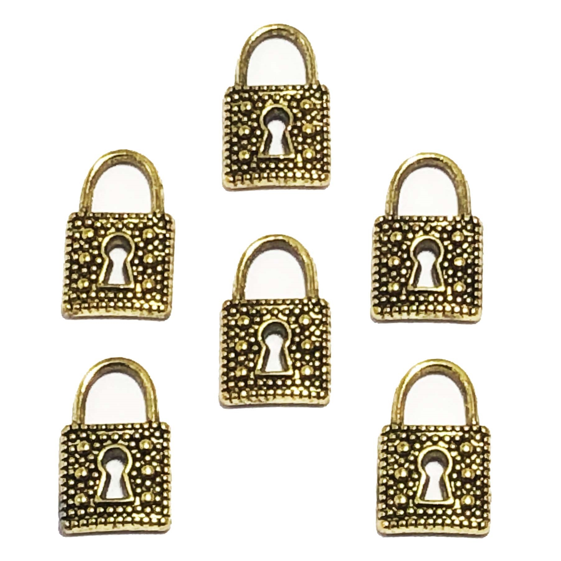 Mini lock charms, antique golden finish, 09540, lock charms, charm, lock, goldtone, set of 6, B'sue Boutiques, jewelry supplies, jewelry making, jewelry parts, findings, lock