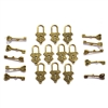Mini lock and key sets, charms, 09548, lock charms, charm, lock, antique golden finish, goldtone, set of 10, B'sue Boutiques, jewelry supplies, jewelry making, jewelry parts, lock and key, findings, lock