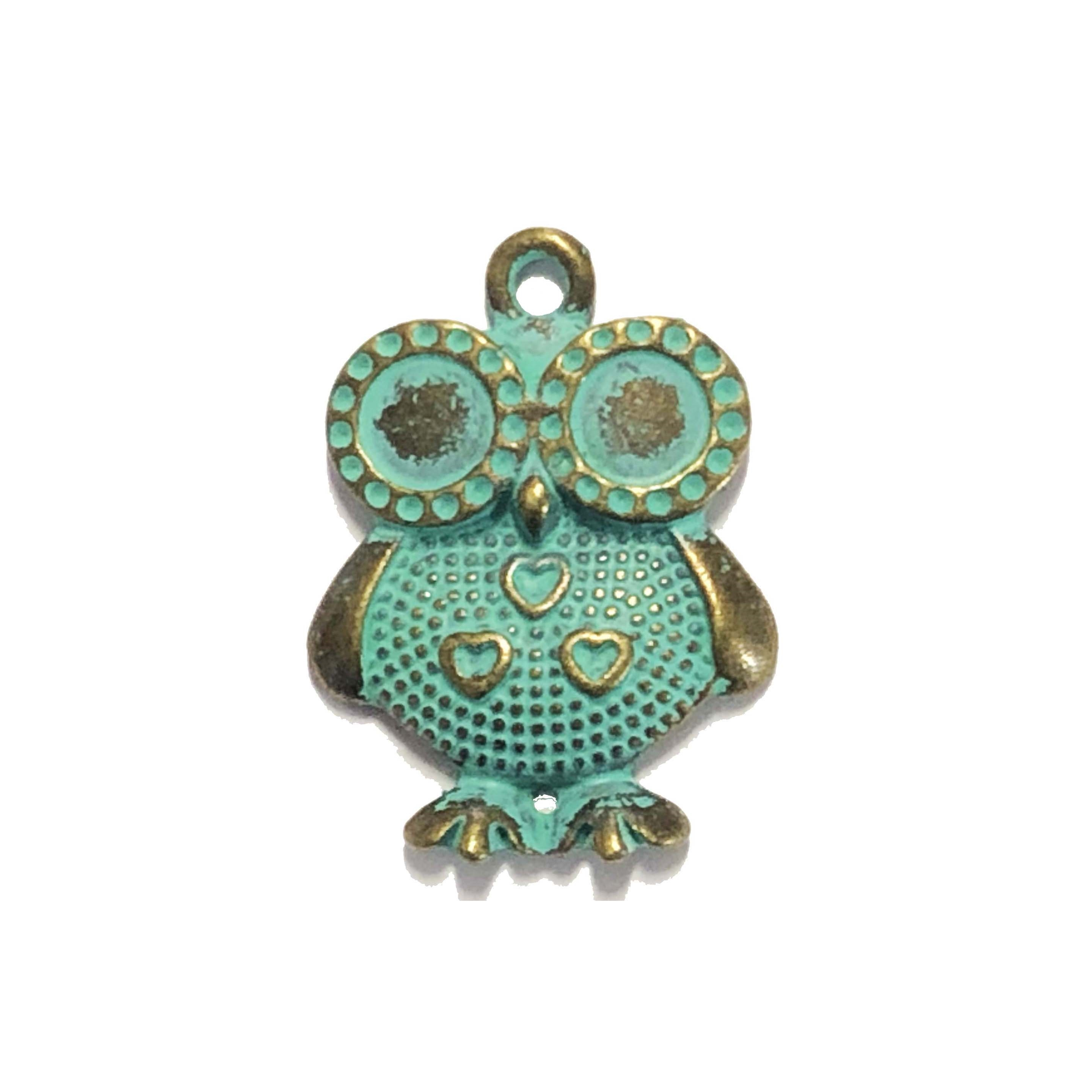 owl pendant, owl connector, antique bronze, 09579, jewelry supplies, B'sue Boutiques, jewelry parts, jewelry findings, bird jewelry, charm, pendant, birds, owl, jewelry making supplies, green patina
