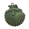 clamshell pendants, antique bronze, green patina,  sea jewelry, sea, brass stamping, B'sue Boutiques, antique bronze, lead-free, nickel free, jewelry making, vintage supplies, jewelry supplies, jewelry findings, 09582