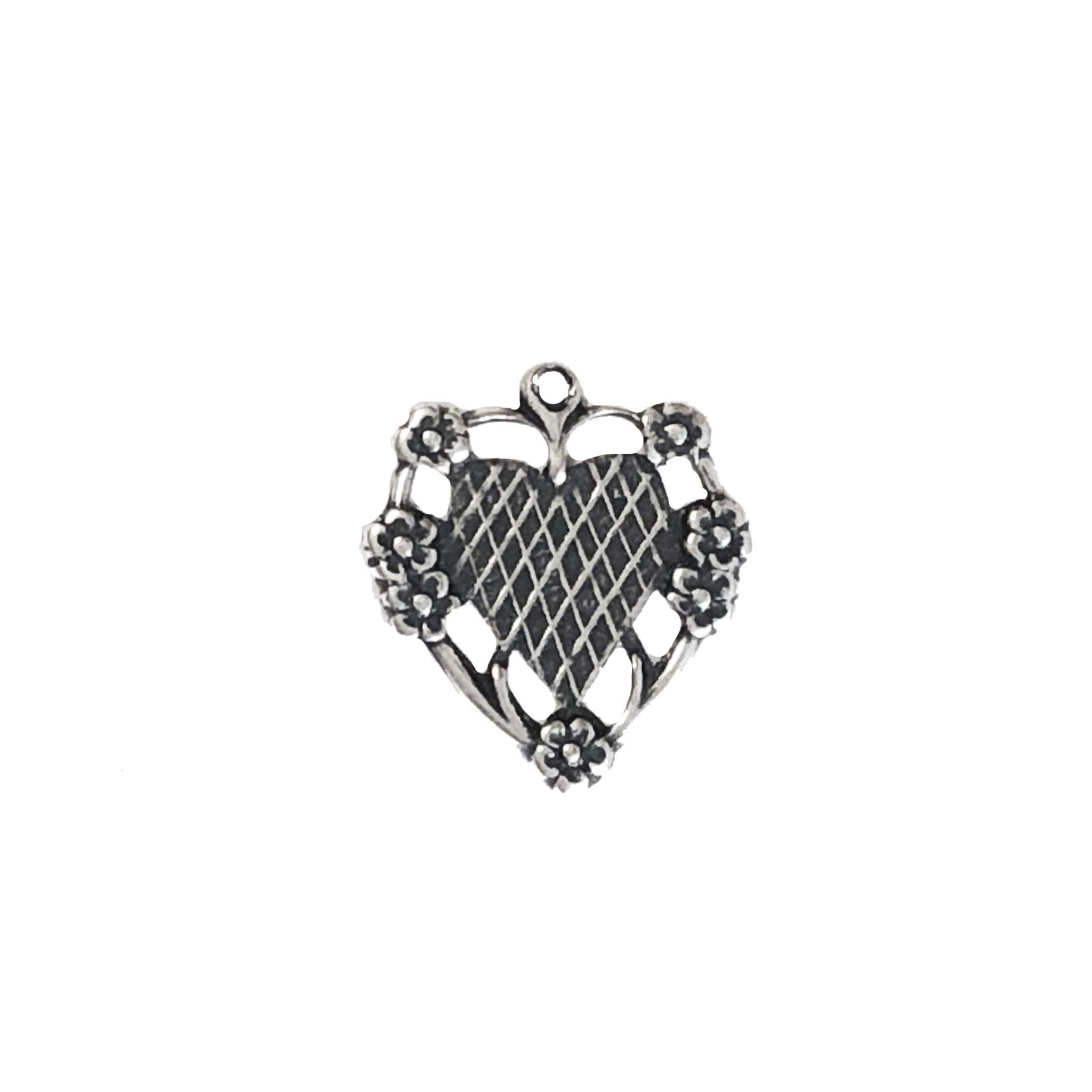 floral heart charm, silverware silver plate, mount, heart, charm, mount charm, brass stamping, heart charm, brass, US made, floral heart, B'sue Boutiques, 20x17mm, jewelry making, jewelry supplies, vintage supplies, jewelry findings, 09594