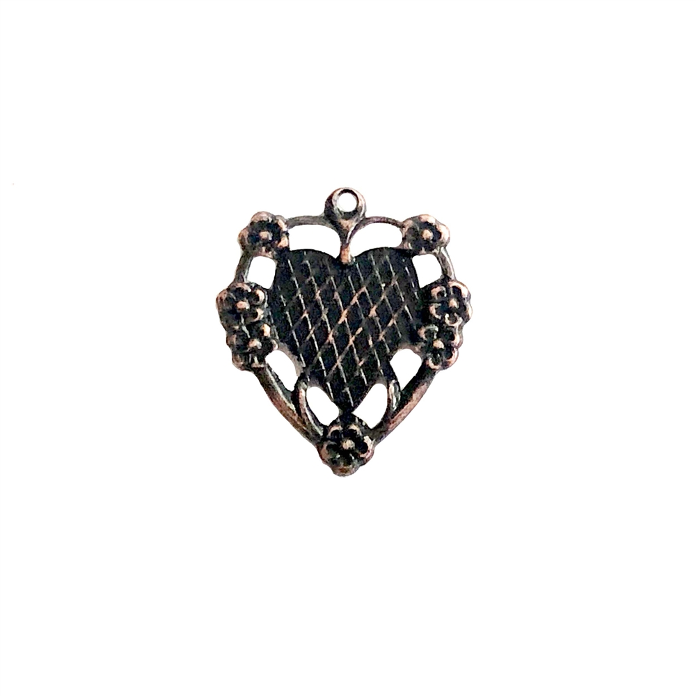 floral heart charm, rusted iron brass, mount, heart, charm, mount charm, brass stamping, heart charm, brass, US made, floral heart, B'sue Boutiques, 20x17mm, jewelry making, jewelry supplies, vintage supplies, antique copper, 09595