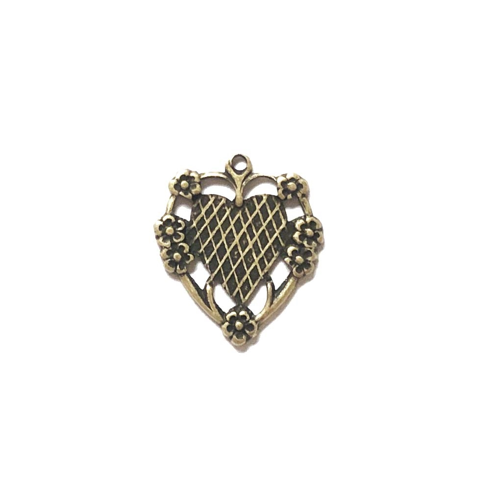 floral heart charm, brass ox, pendant, unplated brass, mount, heart, charm, mount charm, brass stamping, heart charm, brass, US made, floral heart, B'sue Boutiques, 20x17mm, jewelry making, jewelry supplies, vintage supplies, jewelry findings, 09686