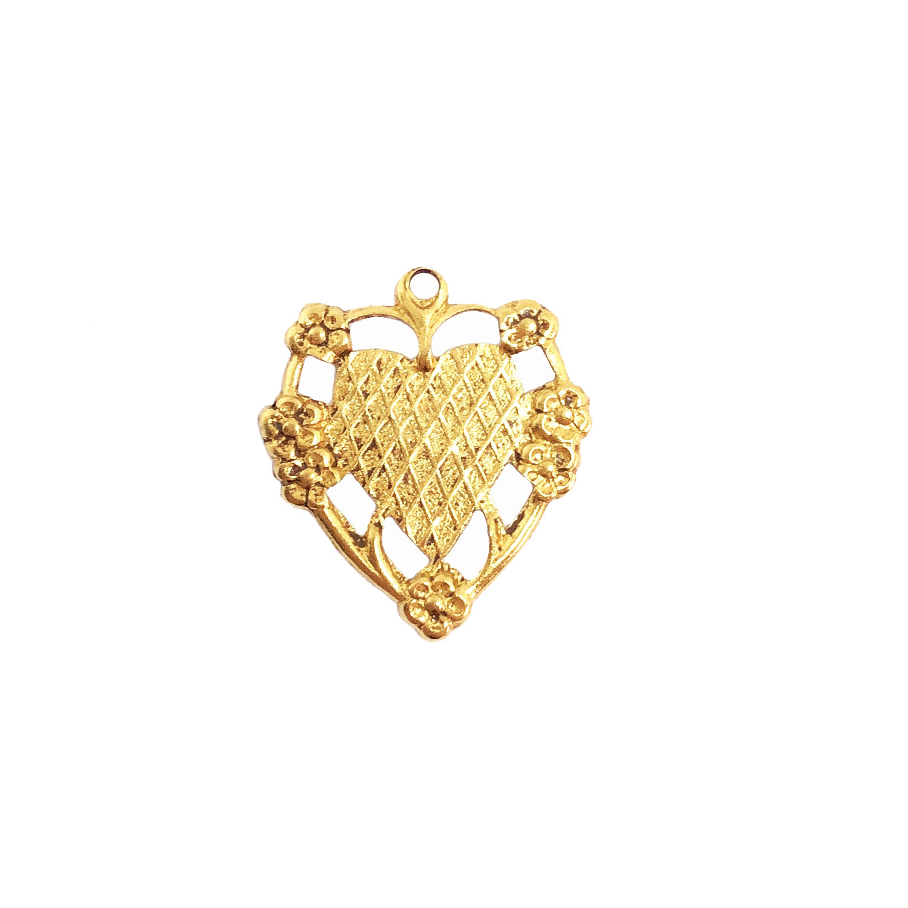 floral heart charm, classic gold plate, mount, heart, charm, mount charm, brass stamping, heart charm, brass, US made, floral heart, B'sue Boutiques, 20x17mm, jewelry making, jewelry supplies, vintage supplies, jewelry findings, 09758