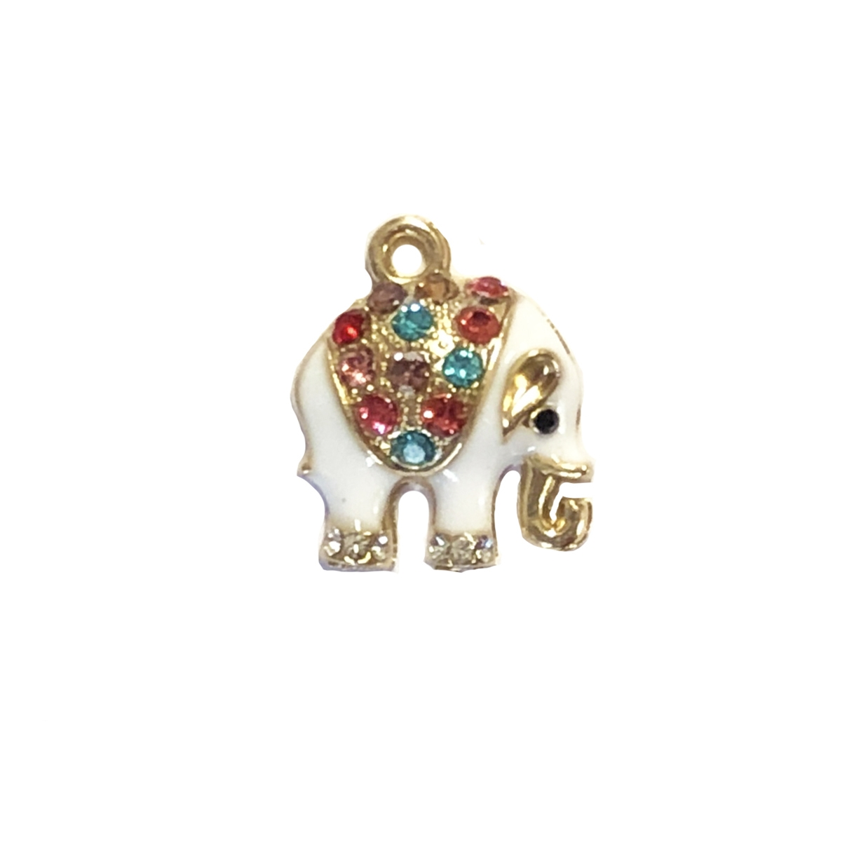 bejeweled elephants, elephant charm, 09832, B'sue Boutiques, lead free, jewelry supplies, zinc alloy, multi-color rhinestones, circus animals, elephant jewelry, jungle, animals, safari, charms, animal charm, white enamel