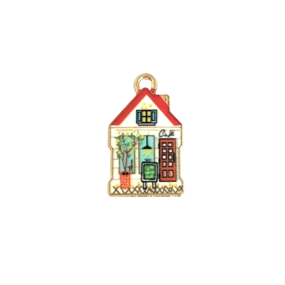 cafe charm, house charm, house, cafe, charm, pendant, 23 x 13mm, B'sue Boutiques, jewelry making, jewelry supplies, jewelry findings, 09835, enamel, enameled charm