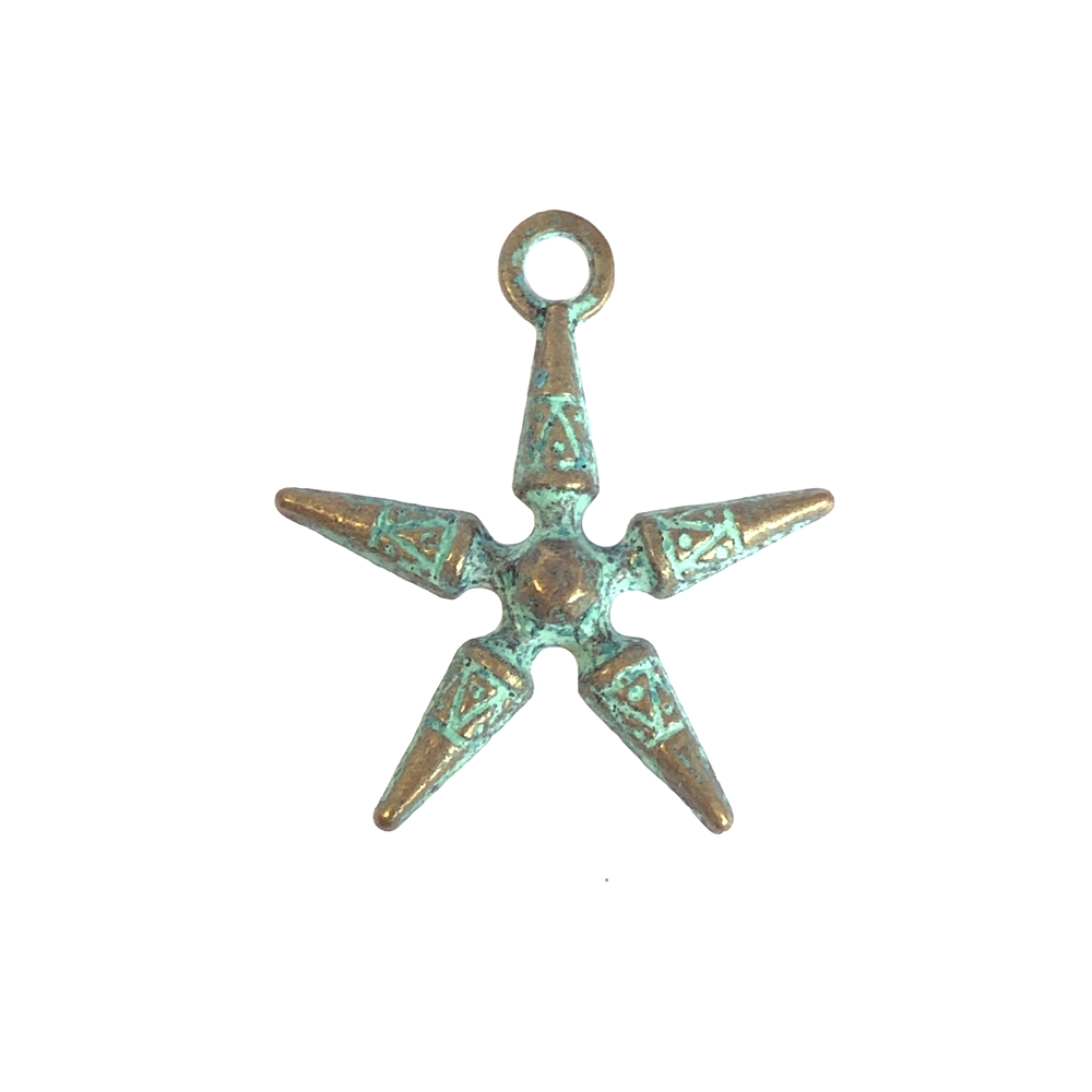 antique star charm, aqua blue patina, 09837, zinc based alloy, aqua blue patina finish, bronze finish, jewelry findings, B'sue Boutiques, star, charms, charm, pendant, star pendant