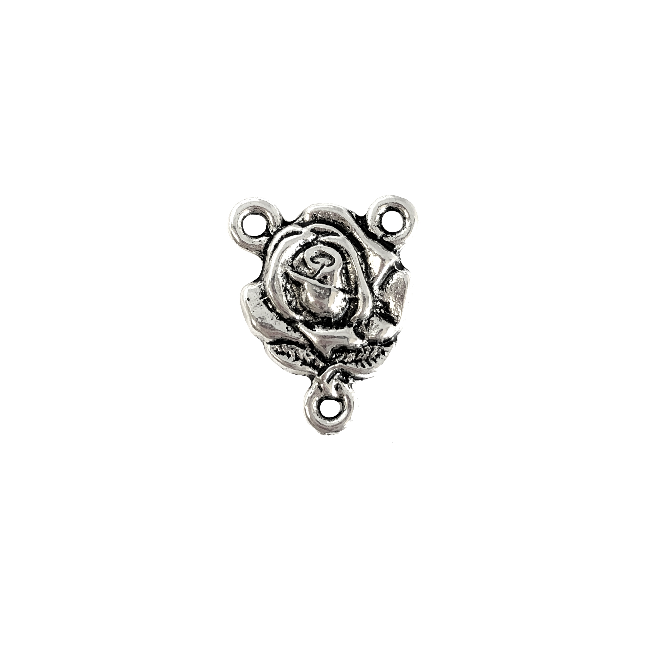 Rose Connector, antique silver, lavalier, lavalier style, Rose, Connector, Flowers, Roses, Jewelry Finding, Victorian Style, Zinc Base, 19 x 15mm,  B'sue Boutiques, Jewelry Supplies, 09840