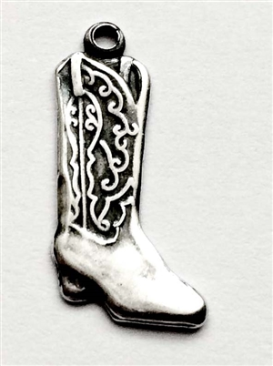 cowboy boot, boot charm, boot, cowboy jewelry, cowboy, silverware silverplate, charm, silver, silverplate, 19 x 16mm, us made, nickel free, jewelry making, jewelry findings, b'sue boutiques, vintage supplies, jewelry supplies, stamping, shoes, 03420