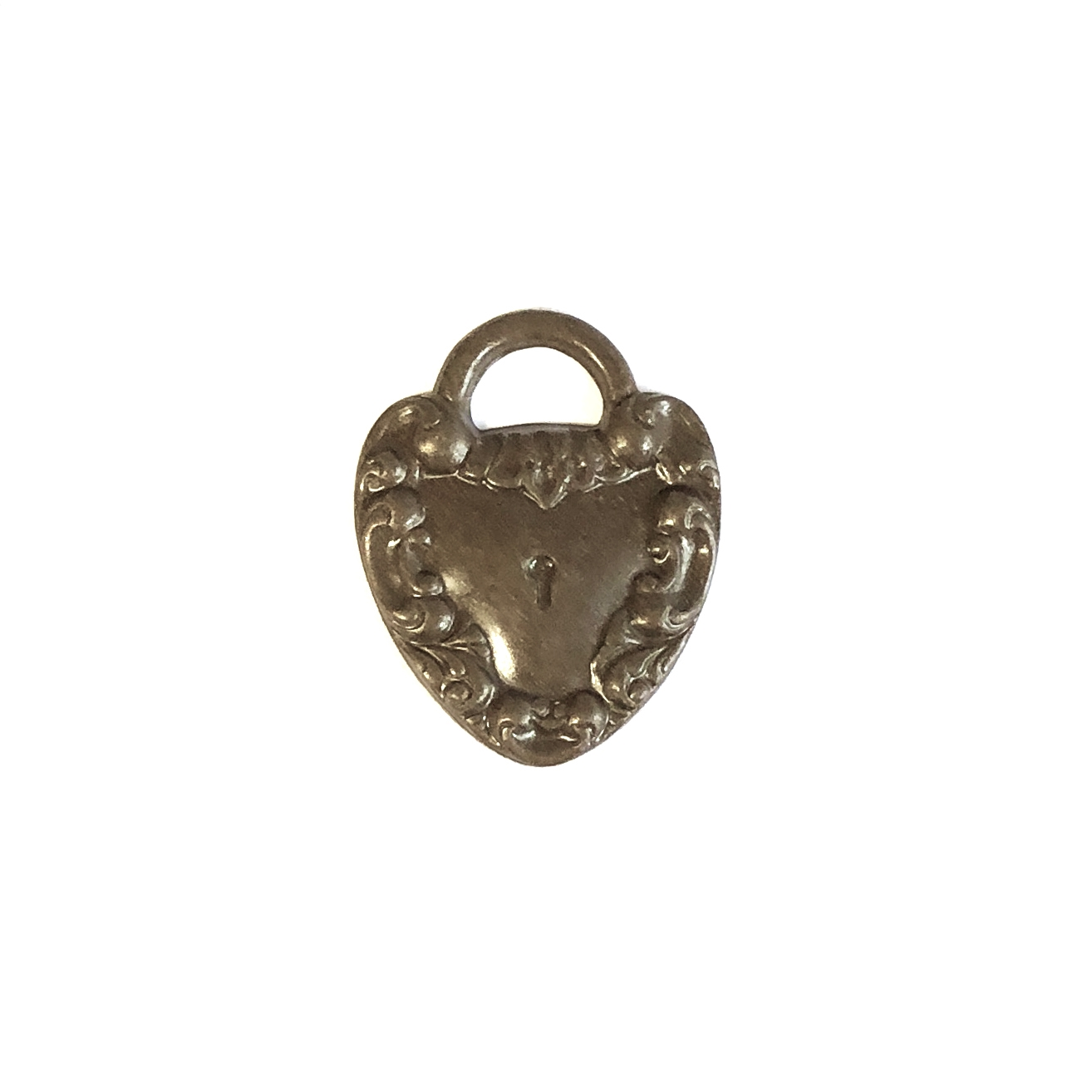 heart and key charm, heart. charm, chocolate brass, locket, key, heart charm, stamping, victorian, victorian heart, lock motif, brass hearts, 20mm, US made, nickel free, jewelry findings, jewelry making, vintage supplies, 09955
