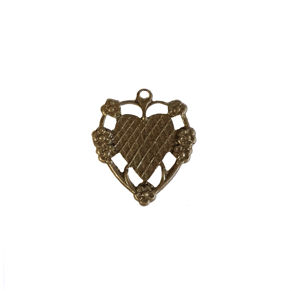 floral heart charm, chocolate brass, pendant, mount, heart, charm, mount charm, brass stamping, heart charm, brass, US made, floral heart, B'sue Boutiques, 20x17mm, jewelry making, jewelry supplies, vintage supplies, jewelry findings, 09961