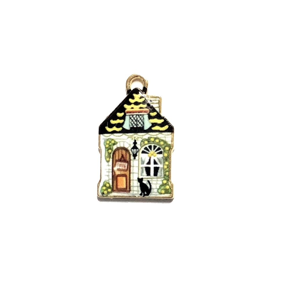 multicolored enameled house charm, house pendant, 22 x 13mm, B'sue Boutiques, jewelry making, vintage supplies, jewelry supplies, jewelry findings, 09994