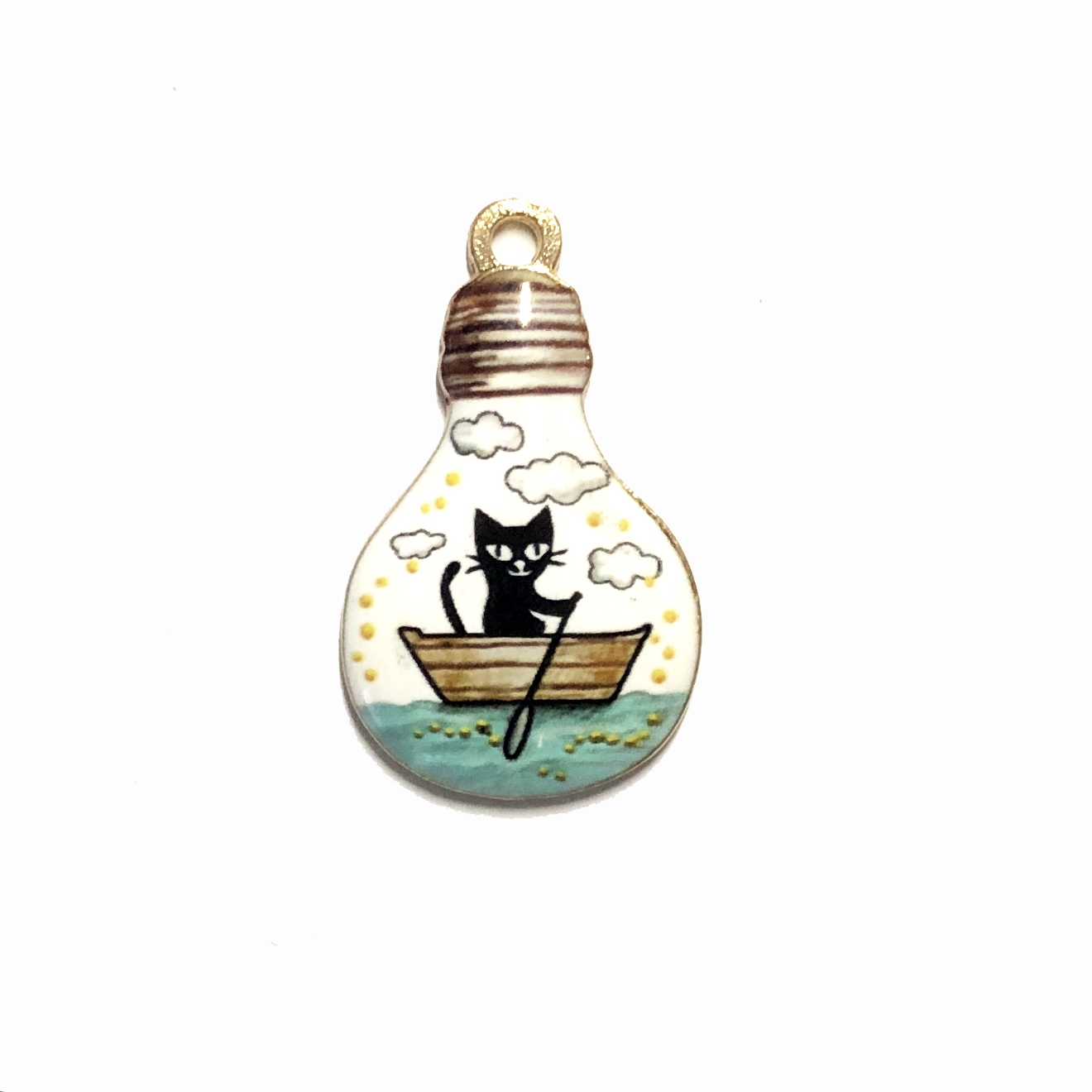light bulb charm,  enamel charms, cat in boat charm, kitty, cat, charm, pendant, 28 x 17mm, B'sue Boutiques, jewelry making, vintage supplies, jewelry supplies, jewelry findings, 09995