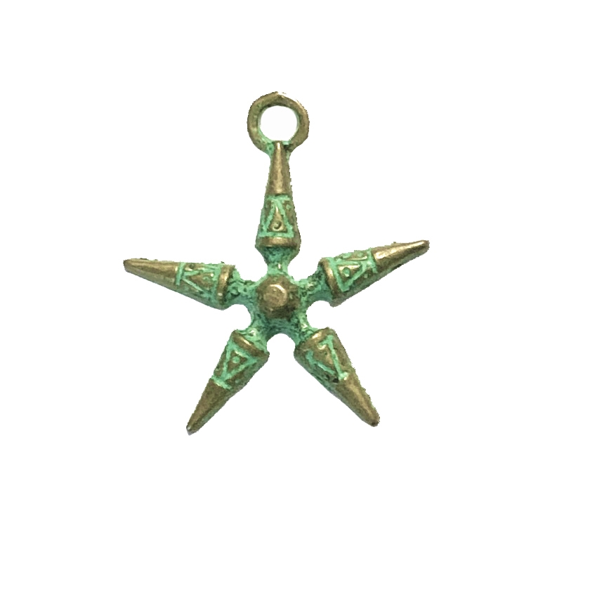 antique star charm, aqua green patina, 09996, zinc based alloy, aqua green patina finish, bronze finish, jewelry findings, B'sue Boutiques, star, charms, charm, pendant, star pendant