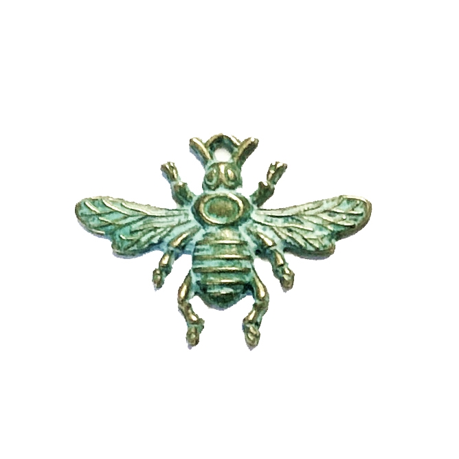bee pendant, bee with stone set, zinc alloy, antique bronze, patina, stamping, stone set, bee, nickel free, B'sue Boutiques, jewelry findings, jewelry findings, vintage supplies, jewelry making, jewelry supplies, 09997