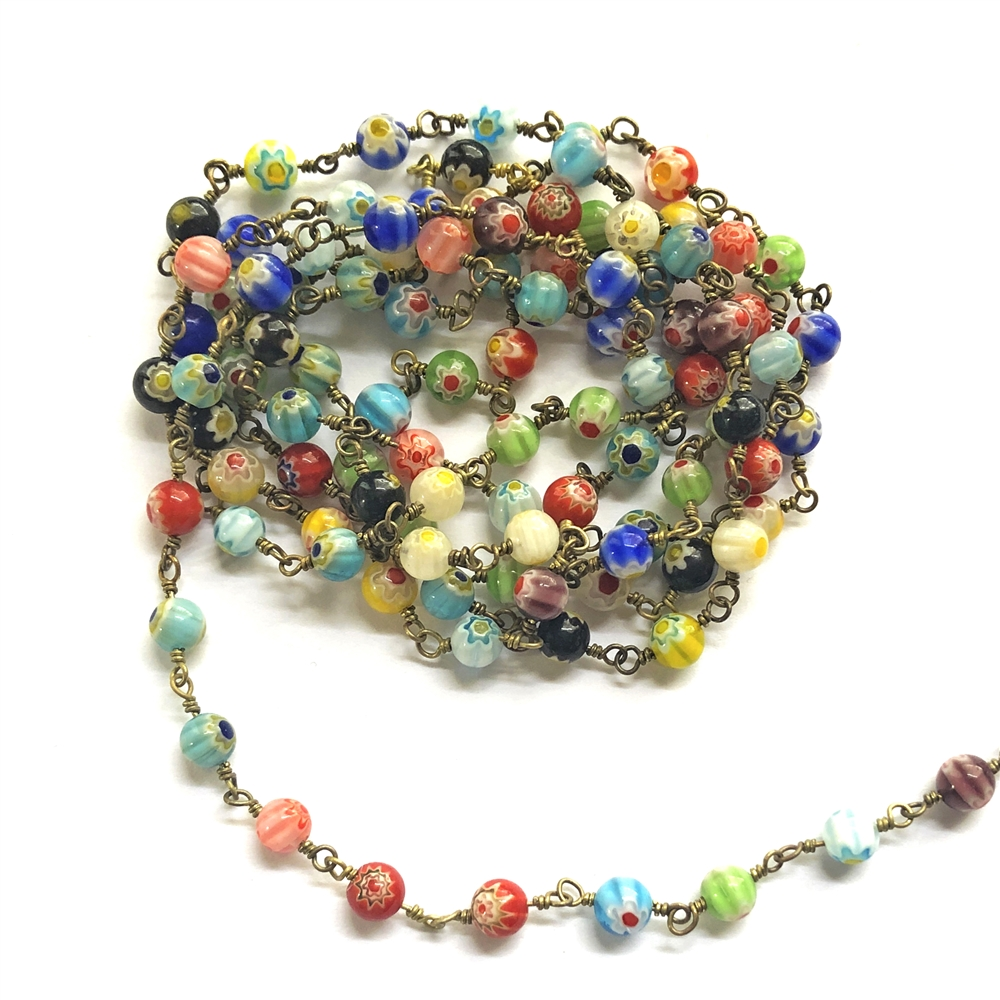 millefiori glass beaded chain, bead and link chain, hand-wrapped chain, brass chain, millefiori glass beads, jewelry chain, jewelry making, jewelry supplies, vintage supplies, bead chain, handmade chain, glass beads, chain, beaded chain, beaded, 01071