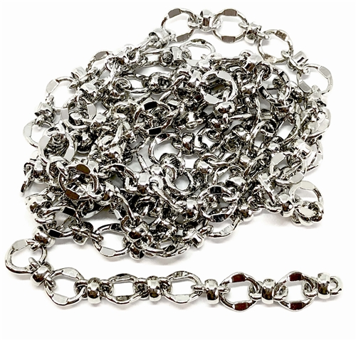 brass chain, silver plate chain, bead and link chain, jewelry chain, 0114, B'sue Boutiques, bracelet chain, necklace chain, antique silver chain, nickel free, US made, vintage jewellery supplies, jewelry making,  beading supplies, brass jewelry finding