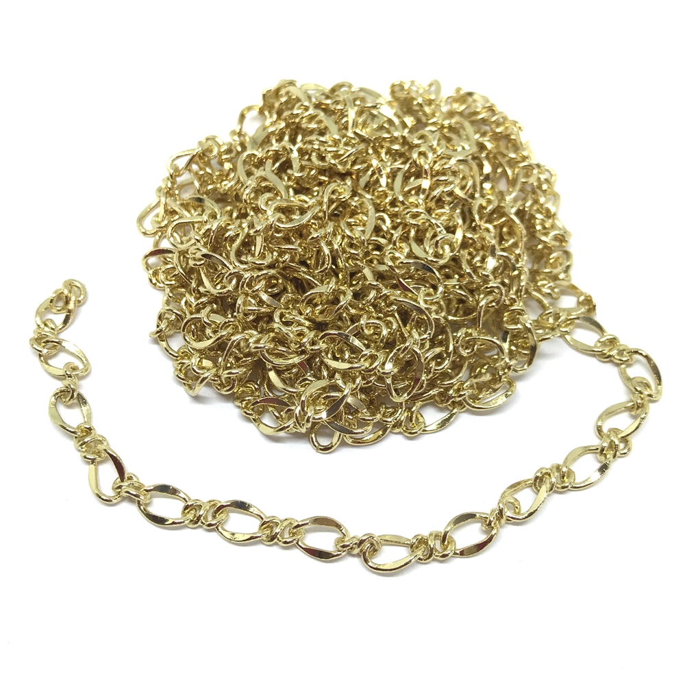 figaro chain, twisted chain, gold plated, 01148, B'sue Boutiques, nickel free, US made,  jewelry supplies, vintage jewelry supplies, beading supplies, bracelet chain, necklace chain, chain