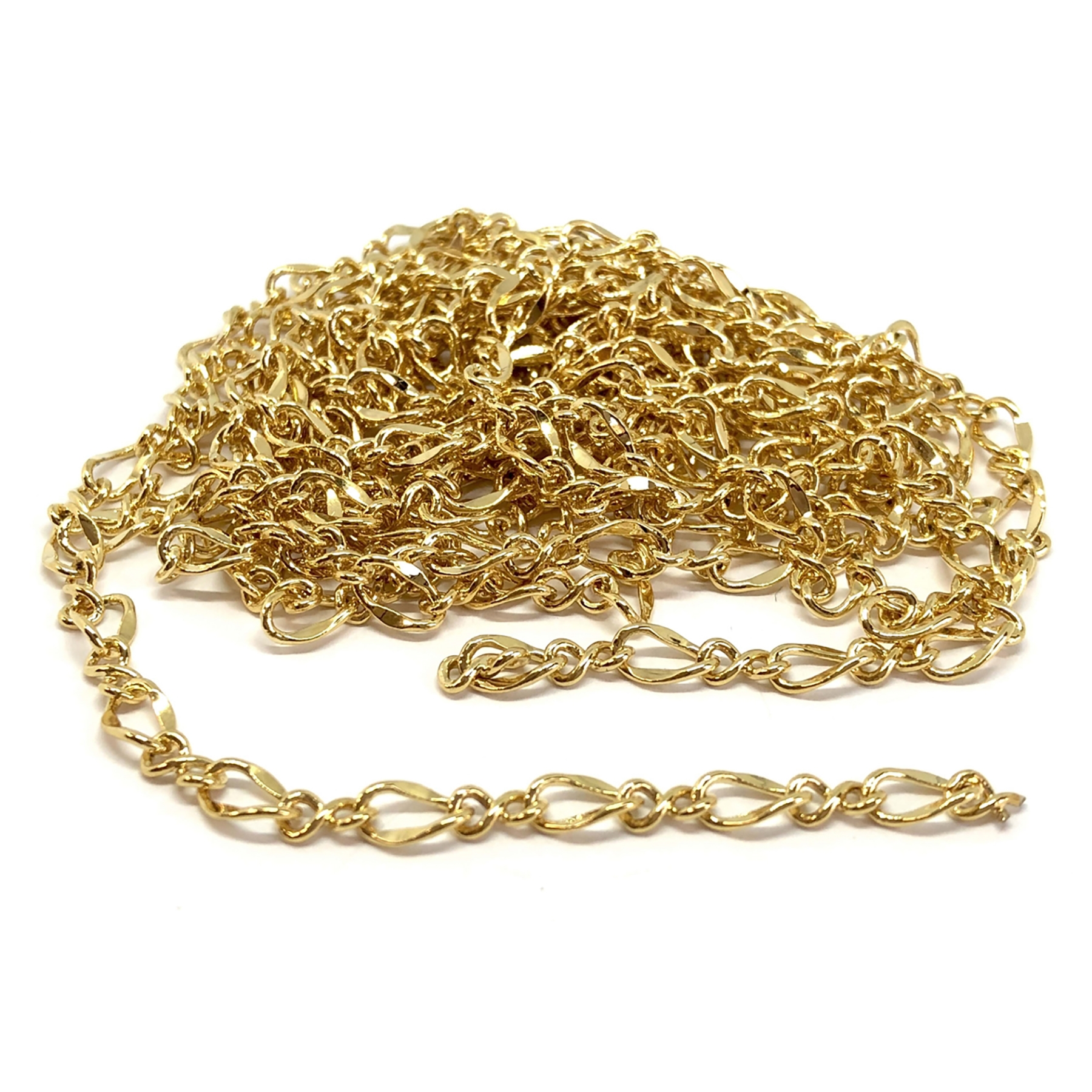 twisted figaro gold plate chain, oval twisted chain, goldplate, jewelry chain, goldplate chain, figaro chain, gold chain, 4x7mm, oval twisted, jewelry making, jewelry supplies, vintage supplies, jewelry findings, brass chain, oval chain, 01185