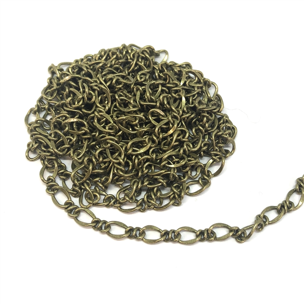 brass chain, antique brass chain, cable chain,  jewelry chain, 01186, B'sue Boutiques, nickel free, US made, vintage jewellery supplies, jewelry making, bracelet chain, necklace chain, beading supplies, brass jewelry findings, brass ox chain