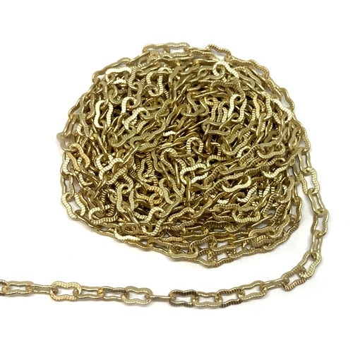 brass chain, peanut chain, satin matte gold, 01218, B'sue Boutiques, nickel free chain, US made, jewelry chain, necklace chain, bracelet chain, vintage jewelry chain, vintage jewellery supplies, ribbed chain, satin matte chain