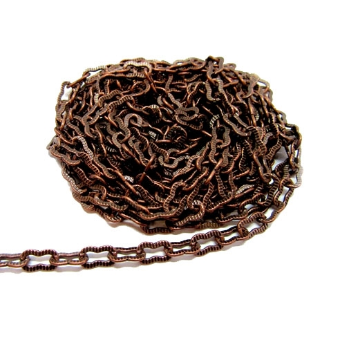 brass chain, peanut chain, antique copper 01245, B'sue Boutiques, nickel free chain, US made, jewelry chain, necklace chain, bracelet chain, vintage jewelry chain, vintage jewellery supplies, ribbed chain