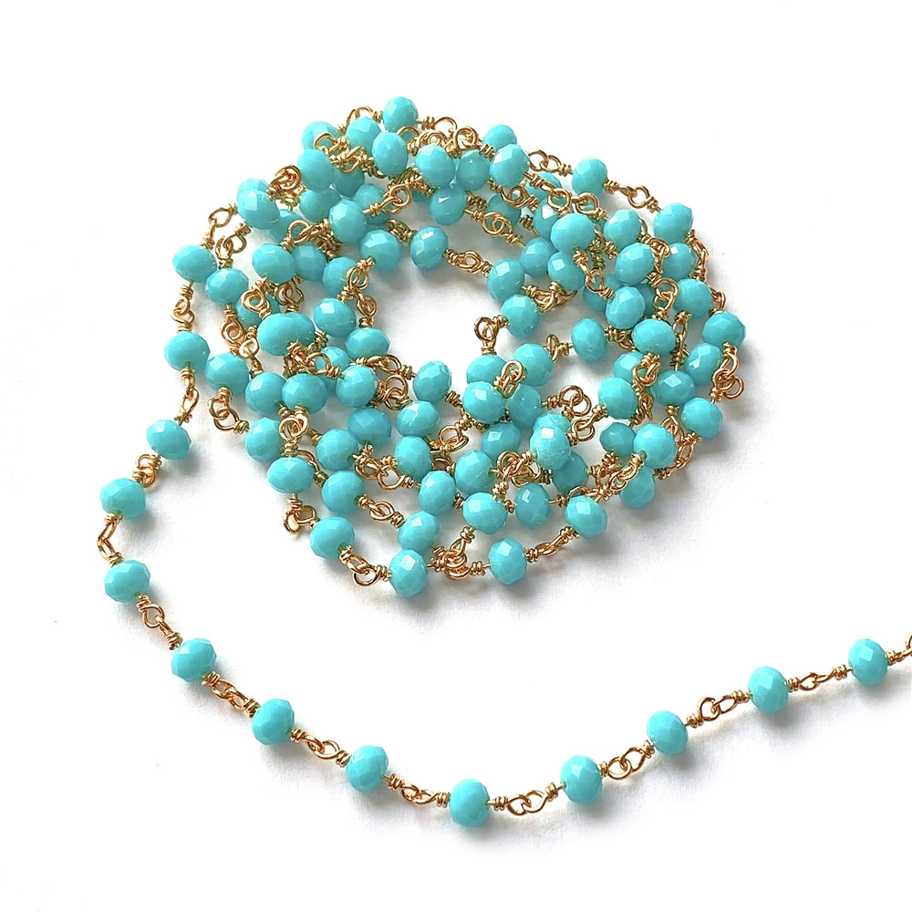 turquoise glass bead chain, bead chain, hand wire wrapped chain, gold plated chain, Turquoise glass beads, jewelry chain, jewelry making, jewelry supplies, vintage supplies, bead chain, handmade chain, glass beads, chain, beaded chain, 01248