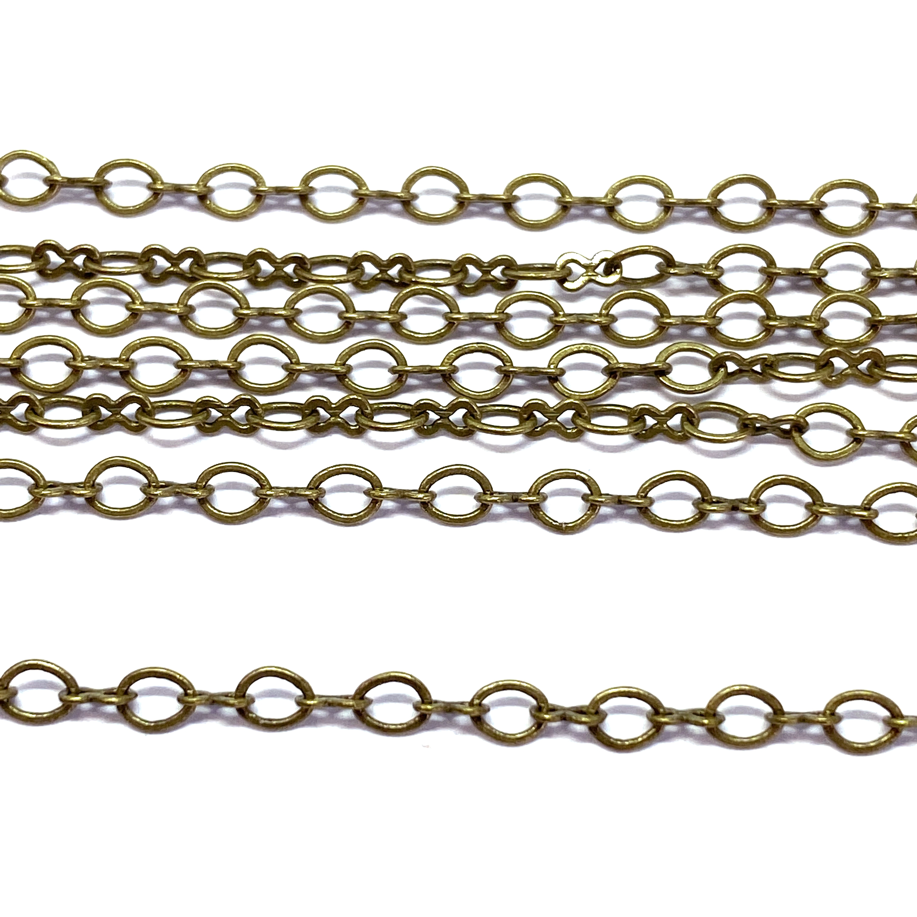 brass ox plated oval chain, peanut links, 01480, oval chain, antique brass chain, delicate chain, B'sue Boutiques, jewelry supplies, jewelry making, findings