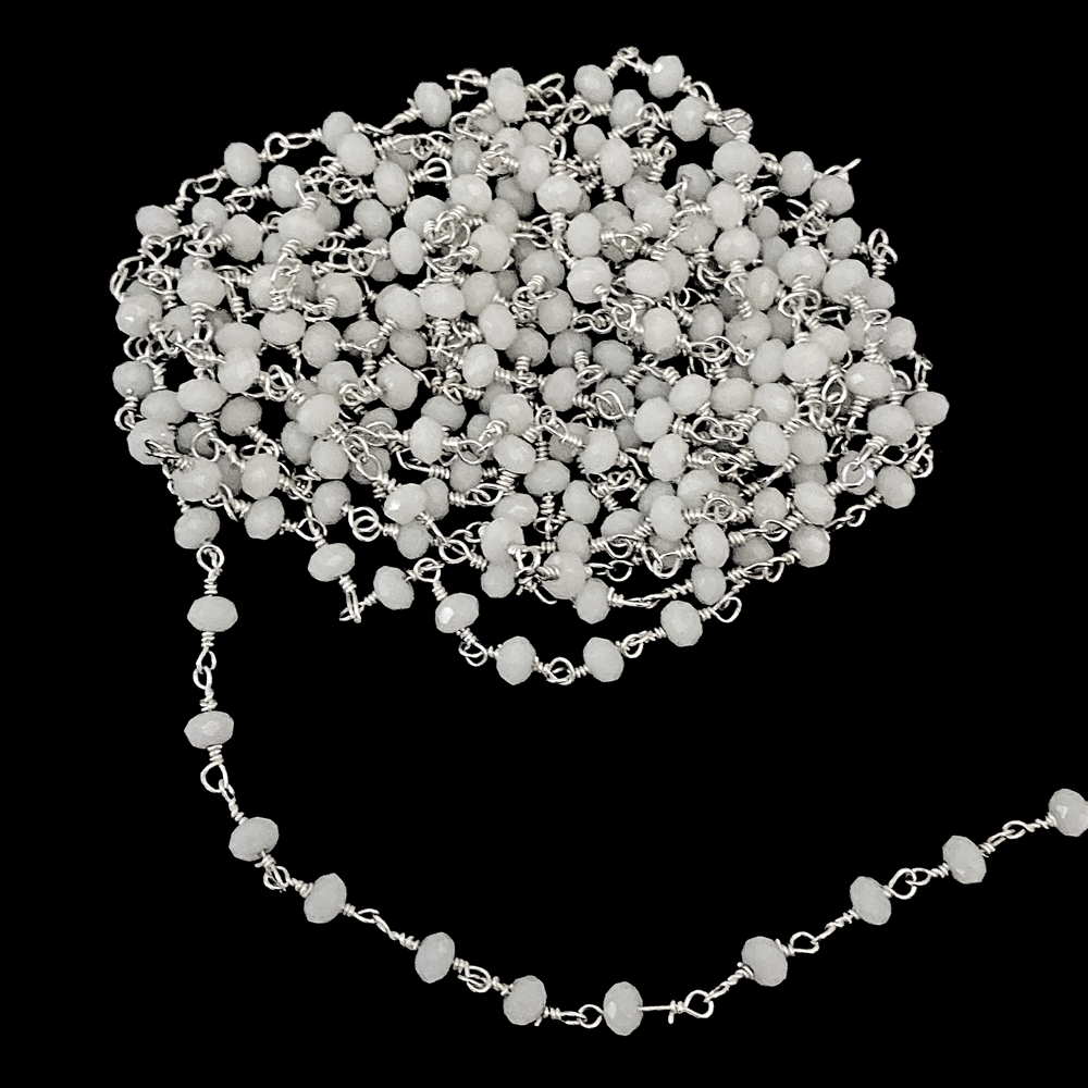 white glass beaded chain, bead and link chain, wire wrapped chain, silver plate chain, white glass beads, jewelry chain, jewelry supplies, vintage supplies, jewelry making, bead chain, handmade chain, glass beads, chain, beaded chain, 3.5mm links, 02391