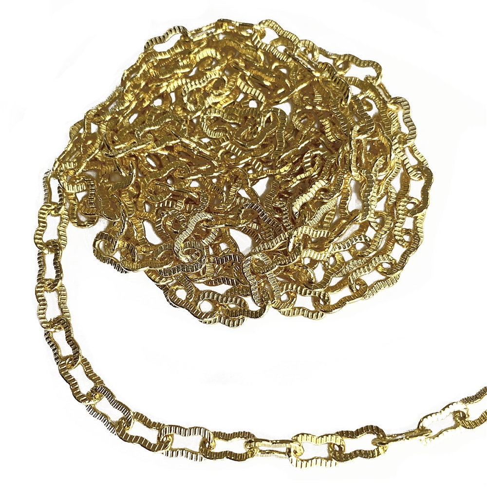 peanut chain, gold plated, brass chain, chain, jewelry chain, gold chain, nickel-free chain, necklace chain, bracelet chain, US-made chain, ribbed chain, jewelry making, vintage supplies, chain supplies, jewelry supplies, 4mm links, B'sue, 02398