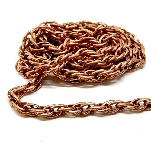 vintagerope chain, rusted iron, 02421, copper coated chain, rope chain, copper coated chain, gingerbread chain, us made, nickel free, chain jewelry, b'sue boutiques, vintage supplies, jewelry supplies, jewelry making, brass, jewelry findings