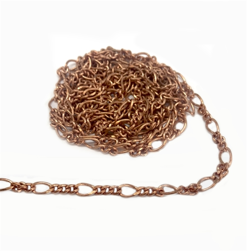 jewelry chain, figaro chain, 02536, copper coat, antique copper, B'sue Boutiques, nickel free, US made, brass jewelry supplies, vintage jewelry supplies, beading supplies, bracelet chain, necklace chain
