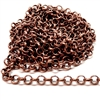 brass chain, jewelry chain, rolo chain, 02621, copper ox rolo chain, B'sue Boutiques, nickel free chain, US Made chain,vintage jewellery supplies, jewelry making supplies, bracelet chain, necklace chain, antique copper